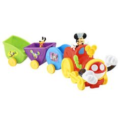 All aboard! Join the silly train and let's get movin' on Mickey's Wobble Bobble Choo Choo train! Go for a ride and watch the choo choo swivel and sway as it travels along! Hear fun phrases, music and sounds as you push him along! Comes with removabl
