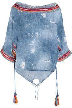 Emamo Denim-print silk kaftan - ShopStyle Cover-ups Denim Fashion, Boho Fashion, Chambray, J Crew Shoes, Silk Kaftan, Mode Jeans, Recycle Jeans, Recycled Denim, Denim Outfit