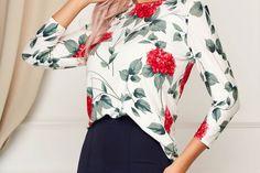 Bluza dama Lady Pandora alba office cu croi larg cu decolteu rotunjit Bell Sleeves, Bell Sleeve Top, Floral Tops, Pandora, Women, Fashion, Moda, Top Flowers, Fashion Styles