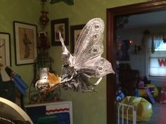 OOAK Silver & Gold Dead Christmas Fairy Winged Skeleton (Ornament)
