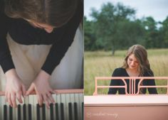 A dreamy senior photo session complete with a painted pink piano in a field | Rachel's Central Florida Senior Session with Caroline Maxcy Photography (www.carolinemaxcy.com) | Makeup and Styling by Michelle Trinder Cathey | Jewelry - Stella & Dot (http://www.stelladot.com/sites/lindseyalovett)