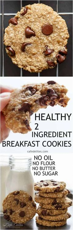 No flour. No oil. No refined sugars, Non fat. Weight Watchers friendly. Low calorie! These Healthy 2-Ingredient Breakfast Cookies are super easy to make! | https://cafedelites.com