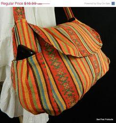 ON SALE Hippie Hobo Messenger Bag Hmong Camera Purse Handbag Hand Woven Cotton Ikat - IKM13