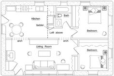 Modern House Plan not sure about earth bags. Or front of house design though I like the plan. The Plan, How To Plan, Small House Plans, House Floor Plans, Earth Bag Homes, Earthship Home, Earthship Plans, Straw Bales, Natural Building