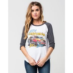 JUNKFOOD Ford Womens Raglan Tee ($44) ❤ liked on Polyvore featuring tops, t-shirts, distressed graphic tees, ripped t shirt, retro graphic tees, white t shirt and 3/4 sleeve tee