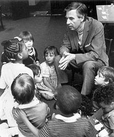 Mister Rogers sharing his words of wisdom with children