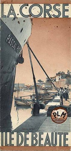 """""""La Corse - Ile de Beauté,"""" 1935. Corsica - Island of beauty. Vintage poster"""