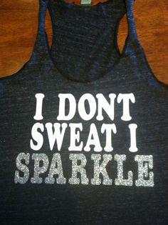 I Dont Sweat I Sparkle Workout Tank DARK GREY by SparkleTeesNMore