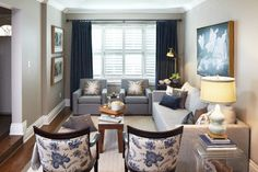 Living room - beautiful small living room in blue and grey - the chairs are wonderful | Sealy Design Inc.