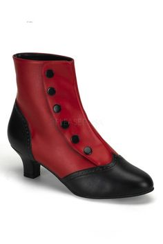 2 inch Heel, Two-Tone Button Snap Spat Ankle Boot