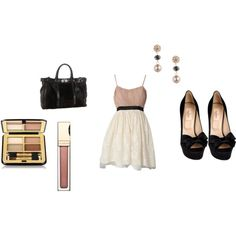 """""""cream and black"""" on Polyvore"""