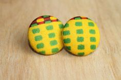 Ankara Fabric Covered Earrings by ImoseBoutique on Etsy, $7.00