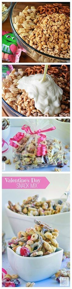 Valentine's Day Snack Mix is a delicious way to share the love with all of your favorite Valentines. This sweet snack mix is made with M&M's® Red Velvet candies, crispy cereal, crunchy pretzels, and s (Easter Chex Mix) Food Box, Yummy Treats, Sweet Treats, Yummy Food, Snack Recipes, Dessert Recipes, Valentines Day Treats, Valentine Ideas, Chex Mix