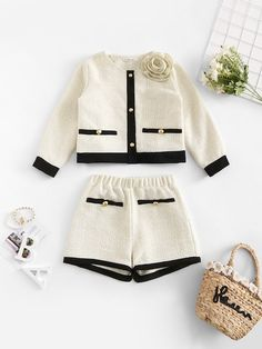 Apricot Vintage Jacket and Shorts Outfit. Beautiful girls jacket and shorts outfit. Girls ages 6 to 14 will love this fall outfit. Baby Outfits, Short Outfits, Kids Outfits, Cute Outfits, Luxury Baby Clothes, Designer Baby Clothes, Cute Baby Clothes, 2 Piece Outfits, Two Piece Outfit