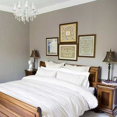 Bedroom with sleigh bed      Crisp white bedlinen contrasts with the warm wooden furniture and sleigh bed.