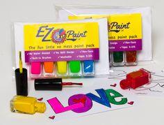 Amazon.com: EZ paint 5 pc. Neon Paints - washable, non toxic paint. No spill Design. EZ cards included in every set: Toys & Games