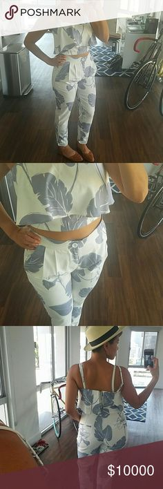Necessary Objects Floral 2 Piece Absolutely obsessed with my new Posh outfit. Necessary Clothing Pants Ankle & Cropped