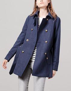 Stradivarius Military woollen cloth coat