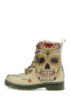 Image of Goby Skull Print Lace-Up Boot