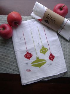 Christmas Retro Ornament Tea Towel Flour Sack Dish Cloth Hand Screen Printed
