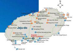 Map of Jeju (Jeju Island) Korea Island Map, Island Life, South Korea Travel, Asia Travel, Living In Korea, Korean Language Learning, Tourist Map, Jeju Island, Learn Korean