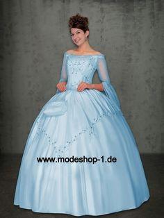 Schulterfreies Sisi Langarm Abendkleid Ballkleid in Hell Blau  www.modeshop-1.de