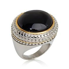 Emma Skye Jewelry Designs Black Agate 2-Tone Ring