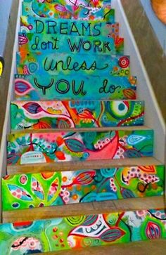 Top 15 collaborative projects for the new school year - Decorate the steps in your school with motivational or inspiration messages, some schools even add times tables to each step! The New School, New School Year, Middle School, School Murals, Art School, School Hallways, School Entrance, Art Du Monde, Painted Stairs