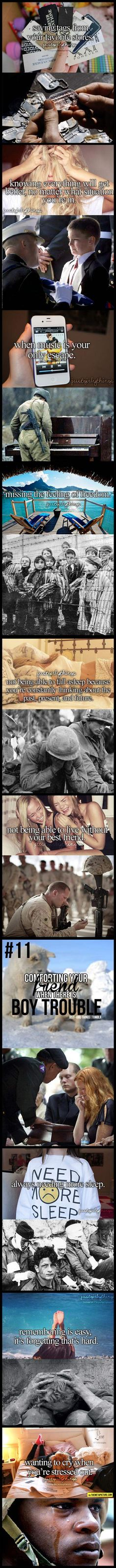 This made me cry Military are awesome They fight for our country without caring for their lives just wanting ot make society safe. They lose comrades who were their best of friends. RESPECT THE MILITARY