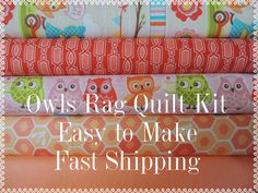 Owls Fabric, by Riley Blake, Designer Rag Quilt Kit,  Easy to Make, Personalized by beffie48 on Etsy