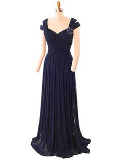 Elegant Navy Blue Jersey Mesh Evening Gown- Vintage Inspired Evening gowns