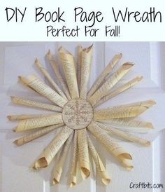 This DIY vintage book page wreath is perfect for holiday decorating! Hang it on your front door or above the fire place. #diy #diywreath #wreath #holidaydecor #winterdecor #autumndecor #bookpages #bookpagewreath #craftbits