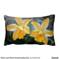 Yellow and White Orchid Lumbar Pillow