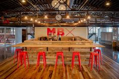Bar and kitchen space at MatchBOX Studio in Lafayette, IN. Lafayette Indiana, Co Working, Coworking Space, Kitchen Design, Studio, Spaces, Bar, Inspiration, Biblical Inspiration