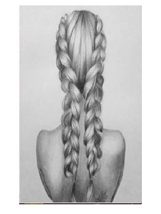 Arte Digital por Phong Anh - Arte no Papel Online Art Drawings Sketches Simple, Pencil Art Drawings, Beautiful Drawings, Cute Drawings, Sketch Drawing, Sketching, Beautiful Pictures, How To Draw Braids, How To Draw Hair