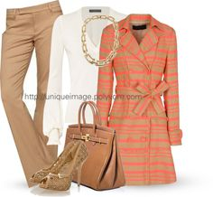 """Tan & Coral"" by uniqueimage ❤ liked on Polyvore"