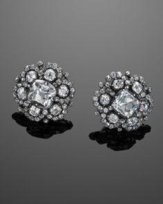Georgian Old Mine Diamond Cluster Earclips, circa 1780s