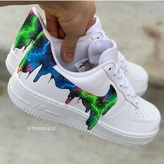 Custom Sneaker by Jordan Shoes Girls, Girls Shoes, Custom Sneakers, Custom Shoes, Custom Af1, Galaxy Shoes, Nike Shoes Air Force, Aesthetic Shoes, Hype Shoes