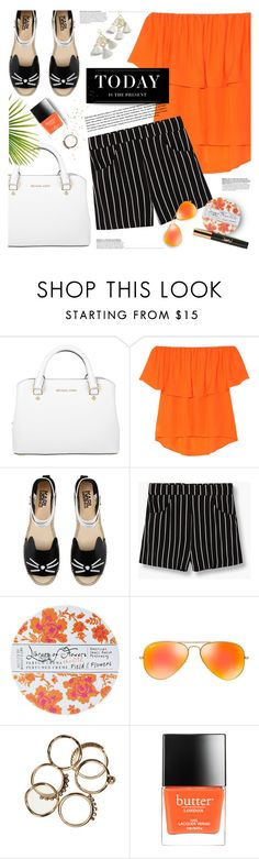 """""""rebecca minkoff blouse"""" by jesuisunlapin ❤ liked on Polyvore featuring Michael Kors, Rebecca Minkoff, Karl Lagerfeld, MANGO, Library of Flowers, Ray-Ban, Levi's, Marte Frisnes, Butter London and Yves Saint Laurent"""