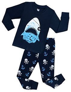 Boys Shark Pajamas Children Christmas PJs Kids Clothes Size 2-7 Years >>> Details can be found at