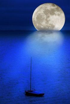 Beautiful Moon and Flat Ocean