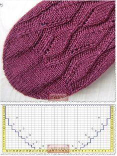 Knitting Charts, Lace Knitting, Baby Knitting Patterns, Knitting Socks, Knitting Designs, Stitch Patterns, Crochet Socks, Knitted Hats, Knit Crochet