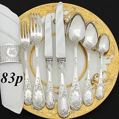 """Antique Puiforcat """"Louis XV"""" silver, Paris, France, 19th c. ... I so want these for my dinner table"""