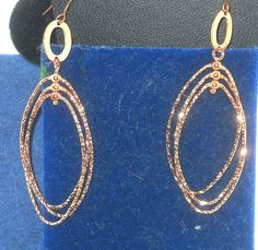 99 CENT AUCTION Rose Gold over Silver Sparkle Dangle Earrings  CHRISTMAS IN JULY  http://stores.ebay.com/JEWELRY-AND-GIFTS-BY-ALICE-AND-ANN