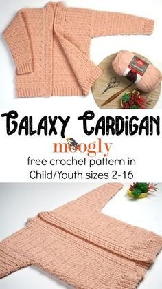 Galaxy Cardigan - Free Child/Youth Crochet Pattern on The Galaxy Cardigan has the same great easy fit, construction, and sparkle as the Cosmos Cardi - but in girls sizes 2 to Get the free crochet pattern on Moogly, featuring Red Heart Hygge Charm! Crochet Toddler Sweater, Crochet Jacket Pattern, Crochet Cardigan Pattern, Crochet Baby Clothes, Crochet For Kids, Crochet Children, Crochet Girls, Toddler Cardigan, Crochet Baby Sweaters