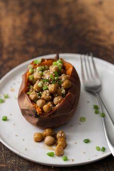 Teriyaki chick pea loaded sweet potatoes #vegan