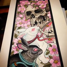 Another painting finished #tattoo#tattoos#ink#tattooart#tattoopainting#japaneseart#japanesetattoo#orientaltattoo#orientalart#asiantattoo#skull#skulltattoo#cherryblossom#rabbit#rabbittattoo#
