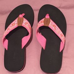 LL Bean Flip Flops - Excellent Condition! These fun pink flip flops by LL Bean have good support with a firm but flexible rubber sole. They were worn once around the house. They are practically brand new. They look great with everything! L.L. Bean Shoes Sandals
