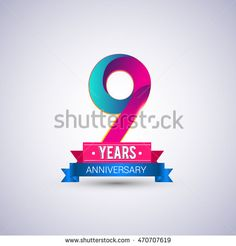 9 years anniversary logo, blue and red colored vector design