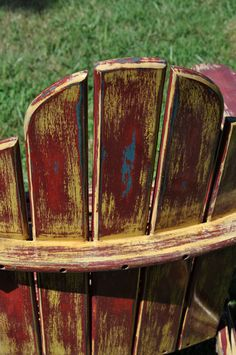 What a beautiful old Adirondack chair...layers of history and paint. | Adirondack Chairs | Pinterest | Cabin fever Cabin and Patios & What a beautiful old Adirondack chair...layers of history and paint ...